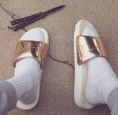 shoes,nike shoes,nike,gold,slip on shoes,flats