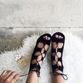 shoes shutz suede black leather lace up gladiators