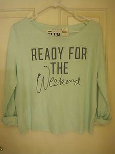 "Victoria's Secret Pink ""Ready for The Weekend"" Shrunken Crew Sweatshirt M 