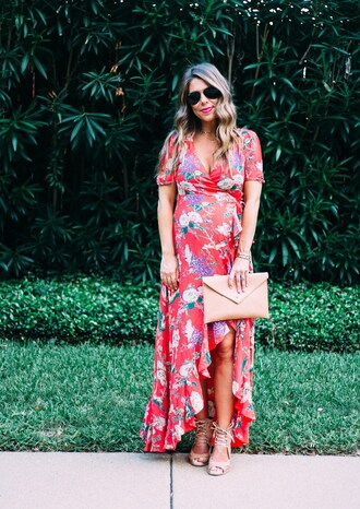 thefashionhour blogger dress tights shoes wedges maxi dress clutch fall outfits