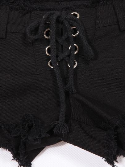 Black Fringe Bandage Ring Embellished Denim Shorts - Sheinside.com