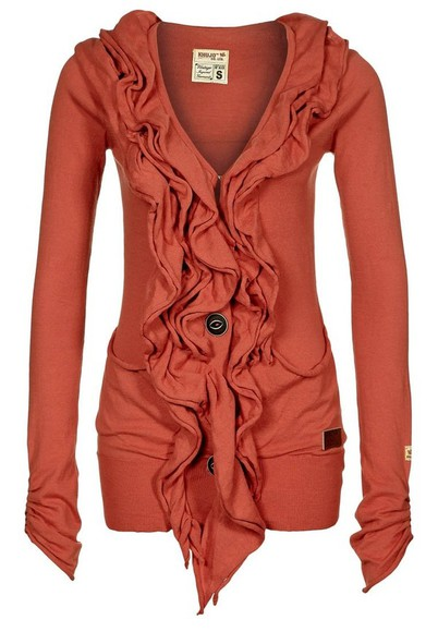 shirt cute sweater salmon coral ruffle button comfy cardigan