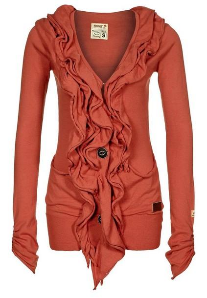 Sweater: coral, ruffle, cute, salmon, shirt, button, comfy ...
