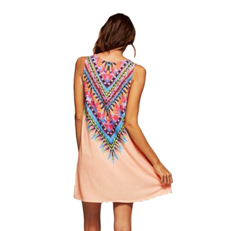 Womens Summer Sleeveless Boho Floral Print Casual Beach Sundress ...