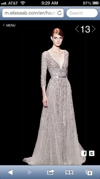 dress prom dress glitter dress long sleeve dress grey dress