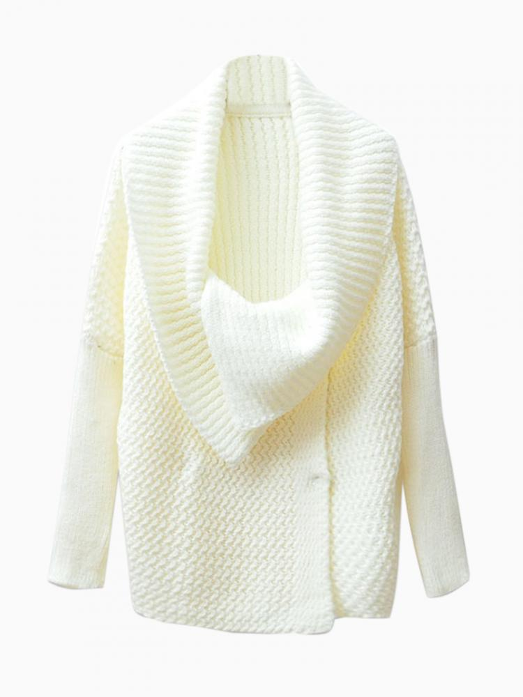 Oversize Collar Cardigan in White | Choies