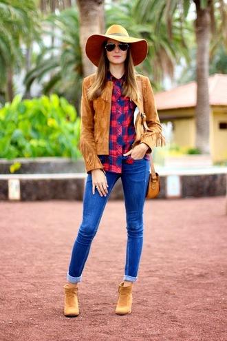 blogger bag fringes felt hat jacket jeans marilyn's closet blog