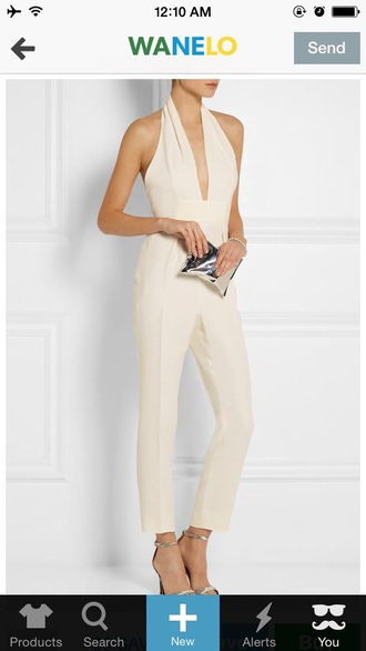 jumpsuit classy cream halter neck sophisticated