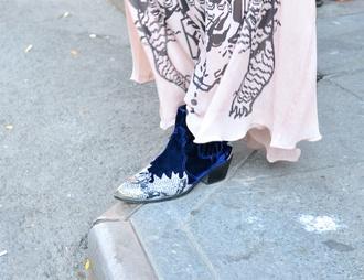 shoes blue boots velvet boots boots western boots velvet ankle boots mid heel boots western blue shoes