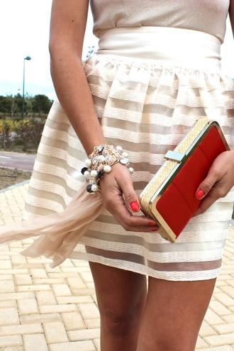 skirt cute lovely white and beige striped skirt