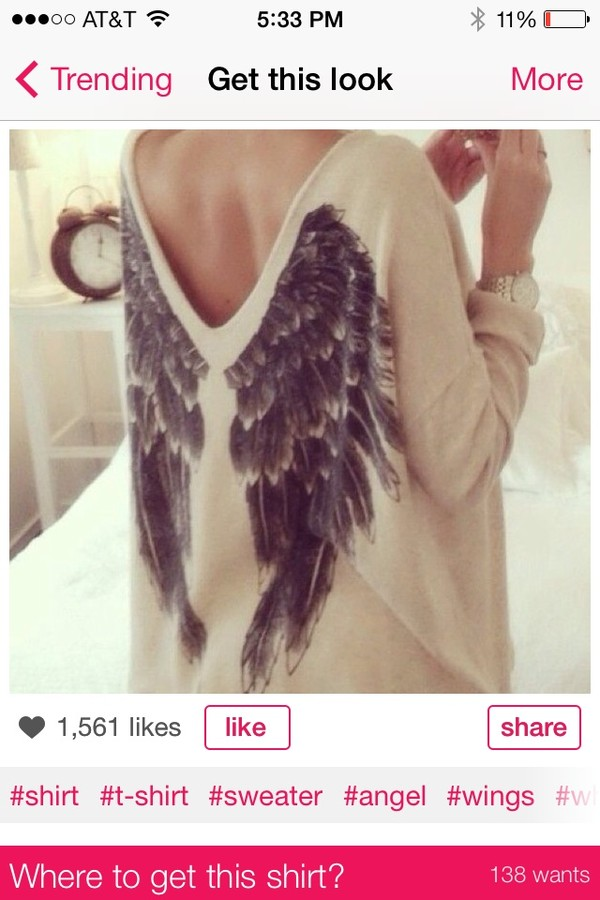sweater wings open back ootd shirt angel wings cream sweater v back black wings sos fall sweater