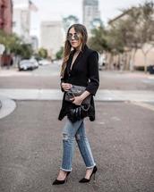 jacket,black blazer,tumblr,blazer,fringed jacket,denim,jeans,blue jeans,ripped jeans,pumps,pointed toe pumps,sunglasses