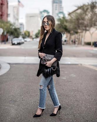 jacket black blazer tumblr blazer fringed jacket denim jeans blue jeans ripped jeans pumps pointed toe pumps sunglasses
