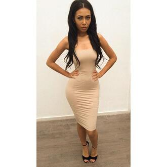 dress bodycon dress nude dress tight midi dress