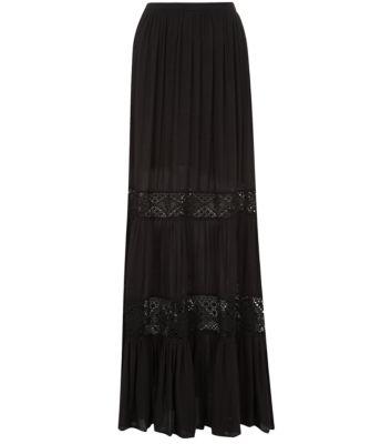 Black Crochet Panel Gypsy Maxi Skirt