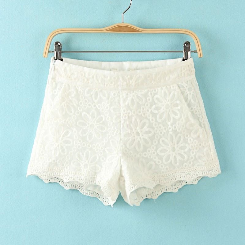 3 Colors New Fashion Women's Good Quality White Shorts Crochet Lace openwork Flower embroidery pants for Ladies Free Shipping-in Shorts from Apparel & Accessories on Aliexpress.com