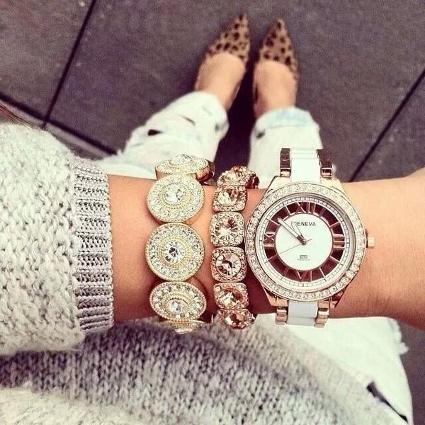 jewels classy gold arm candy diamonds bracelets watch leopard print shoes flats jeans bijoux