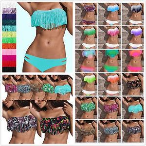 Free P P Womens Sexy Tassel Pad Swimwear Beachwear Tankini Bikini Bathing Suit | eBay