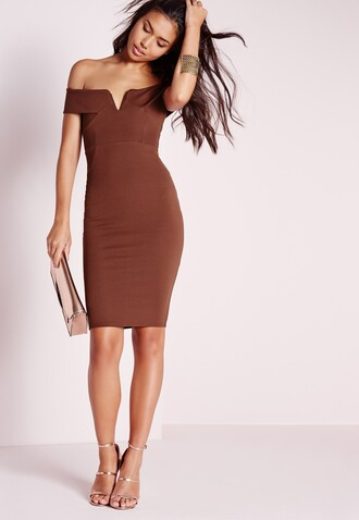 dress brown dress v neck dress