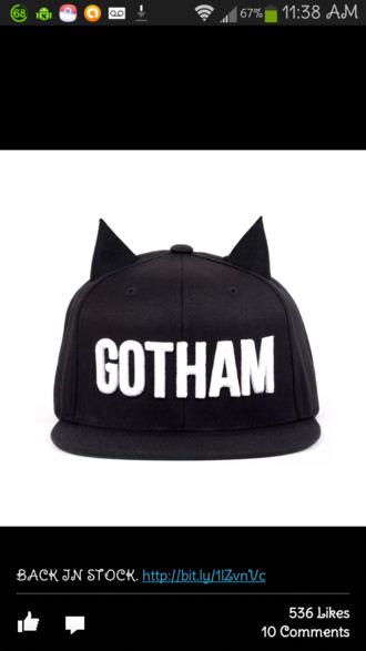 hat black hat black gotham hat with ears