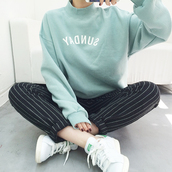 top,sunday,jumpsuit,sweater,mint,streetwear,tumblr,fashion,adidas,black,white,stripes,black and white,instagram,girl,korean fashion,korean style,kstyle,shirt,winter outfits,tumblr outfit,cozy,pastel,pants,black trousers,style,cool,adidas shoes,green,word,winter sweater,oversized sweater,blue sweater