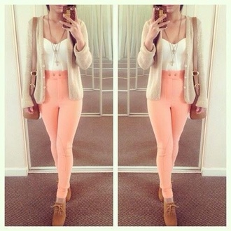 jacket cream jeans pink tank top jewels pants high waisted trousers cardigan lace up heels high waisted pants bag