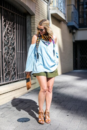 the courtney kerr blogger shorts top scarf shoes bag sunglasses jewels black sunglasses long sleeves blue top cut out shoulder green shorts pouch brown pouch sandals sandal heels high heel sandals brown sandals