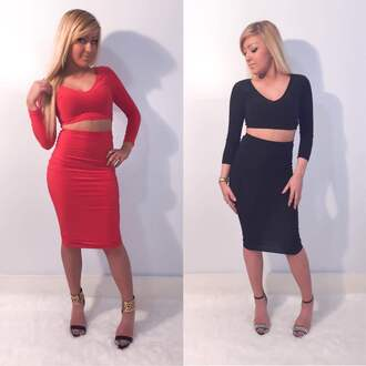 dress two-piece midi skirt crop tops red black lbd little black dress spring outfits