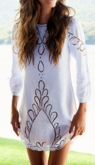 dress boho chic lace long sleeve dress shift dress cut-out greek white greek goddess short dress white dress white lace dress boho dress hippie chic white cover up eyelet summer white boho dress eyelit cover up beach crochet print cute long sleeves lace dress three-quarter sleeves gold dress sequin dress loose dress eyele cut-out dress swimwear bohemian short white dress shirt short ivory white boho eyelet dress