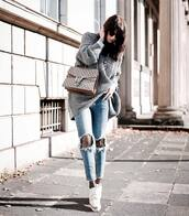 sweater,tumblr,grey sweater,grey oversized sweater,oversized sweater,oversized,bag,gucci,gucci bag,dionysus,jeans,denim,light blue jeans,ripped jeans,shoes,white shoes,platform shoes,tights,stars,fall outfits,fishnet tights,thanksgiving outfit