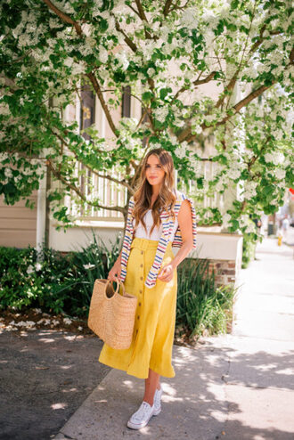 gal meets glam blogger shirt t-shirt tank top skirt shoes bag raffia bag spring outfits yellow skirt sneakers midi skirt