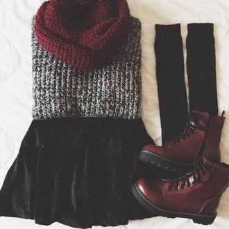 shoes cute shoes winter sweater velvet skirt infinity scarf knee high socks drmartens scarf sweater socks