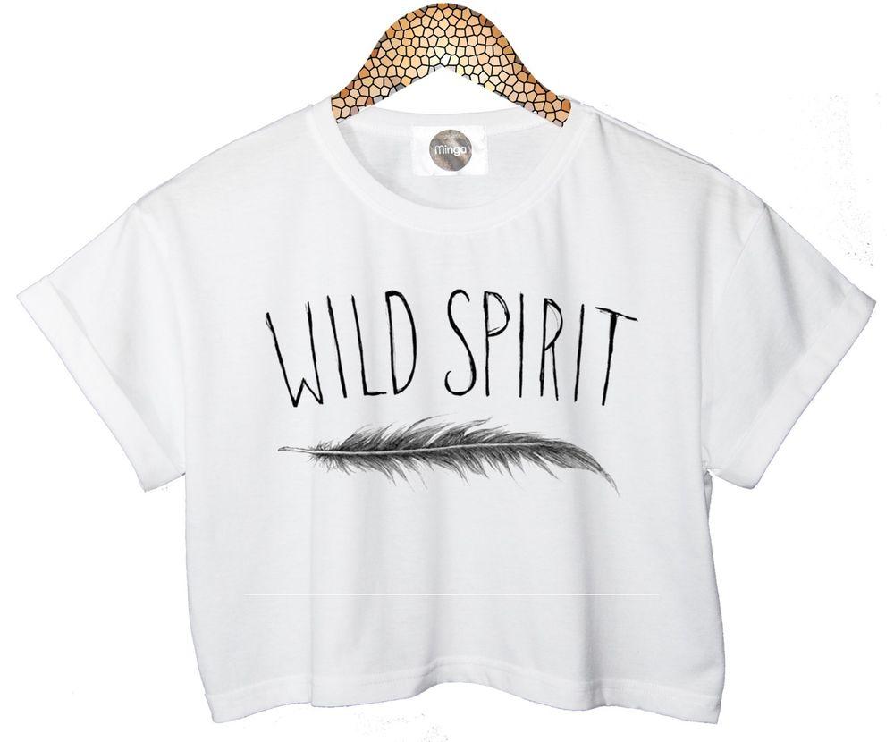 WILD SPIRIT T SHIRT CROP TOP FEATHER TANK FREE INDIE RETRO VTG TUMBLR HIPSTER