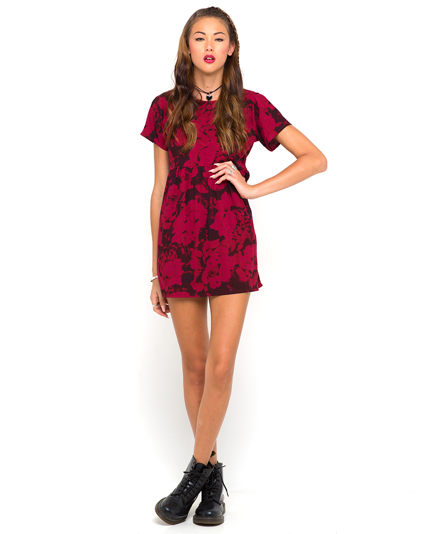 Buy Motel Patience Babydoll Dress in Tonal Floral Maroon at Motel Rocks