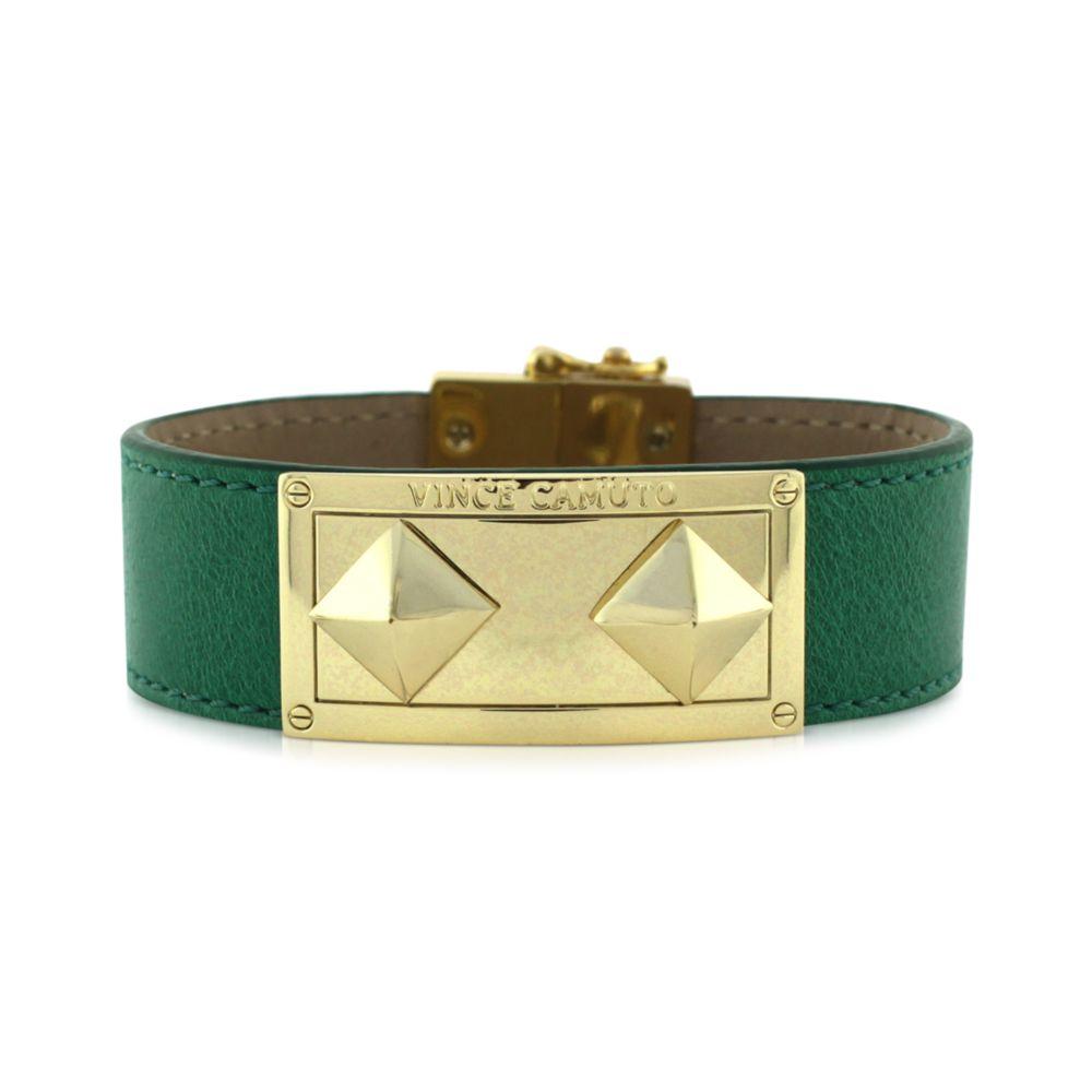 Vince camuto green leather goldtone id bracelet