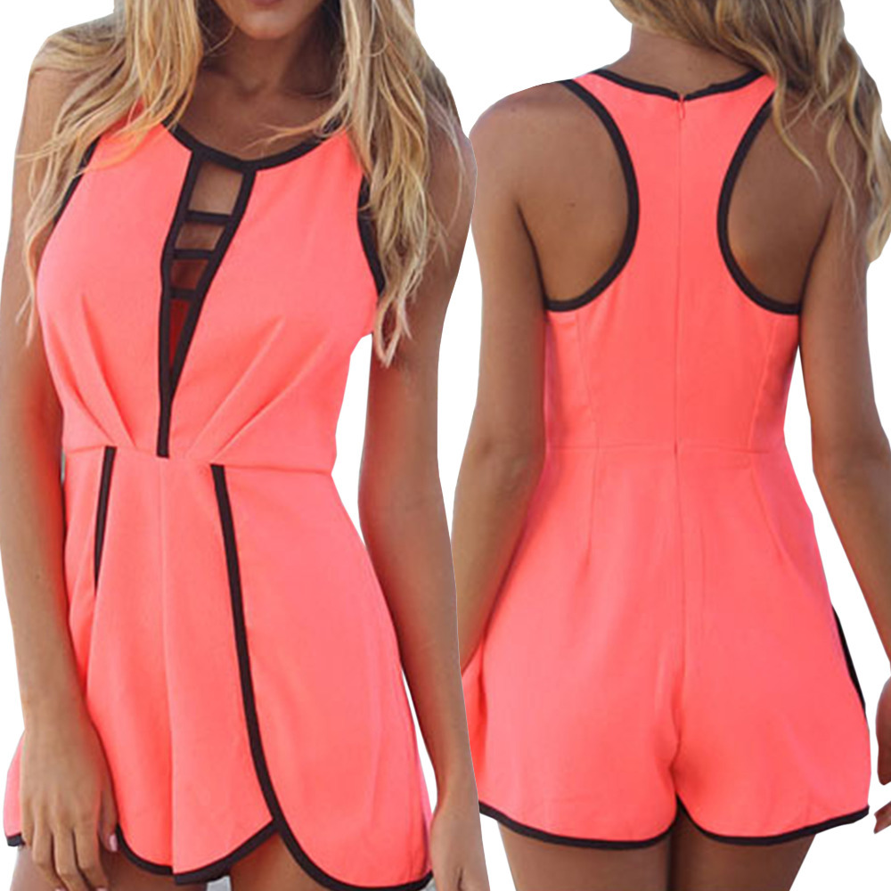 2014 New Fashion Summer Jumpsuits Women's Sexy Hollow Out Jumpsuit Sleeveless Hot Pants Lady's Shorts Playsuit Rompers-in Jumpsuits & Rompers from Apparel & Accessories on Aliexpress.com