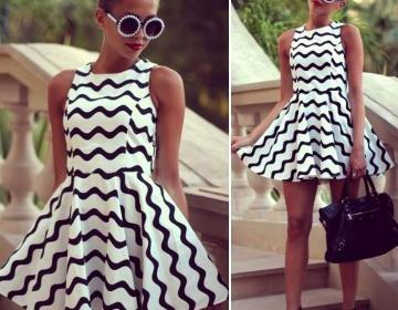 Fashion black and white stripe dres..