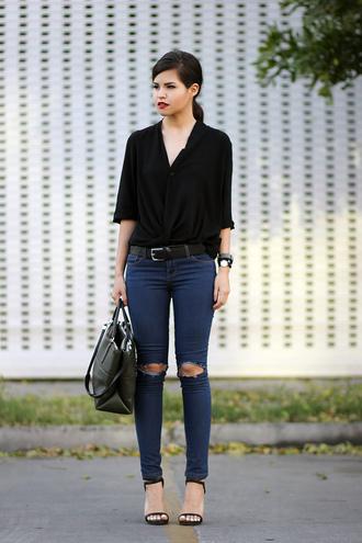 fake leather blouse jeans bag belt shoes jewels