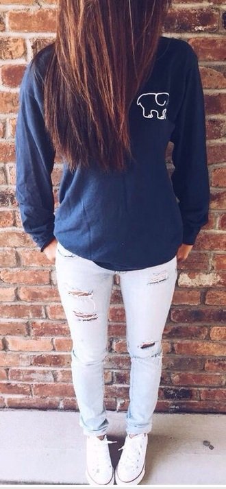 shirt blue long sleeves elephant cute tumblr