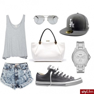 shoes white black cap bag shorts watch sunglasses t-shirt converse acid wash shirt