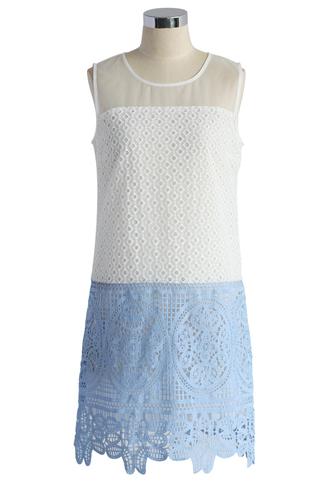 dress chicwish good day crochet shift dress crochet dress shift dress summer dress blue dress white dress florsl dress floral dress chicwish.com blue floral dress