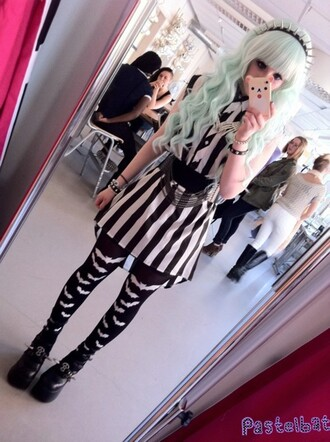 shoes spikes goth phone cover belt dress pastel goth stripes black and white