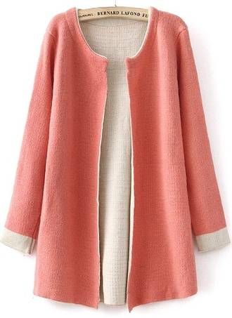 sweater open front cardigan jacket cute fashion style girly trendy blazer fall outfits classy retro peach pastel pink skirt teens glamour casual long cardigan must have pretty in pink quality