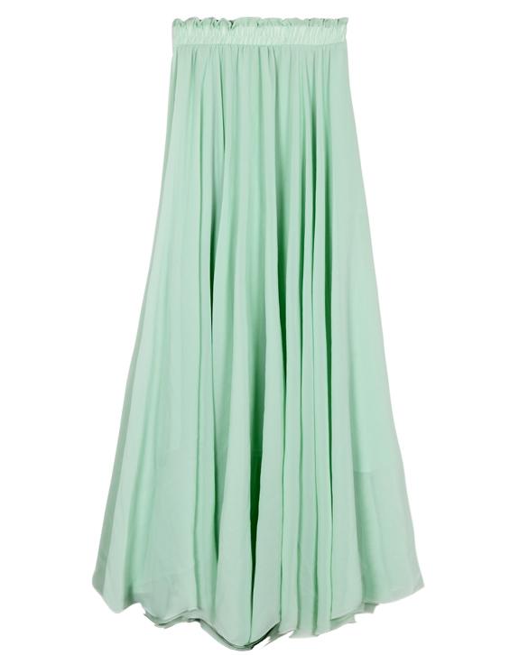 Green ruffle long chiffon skirt