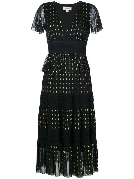 Temperley London dress lace dress metallic women lace cotton black silk