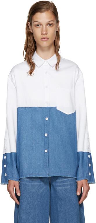 shirt denim shirt denim white blue top