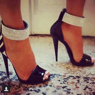 shoes high heels black and white high heels diamonds diamond heels high heel cuffs open toes open toed heels