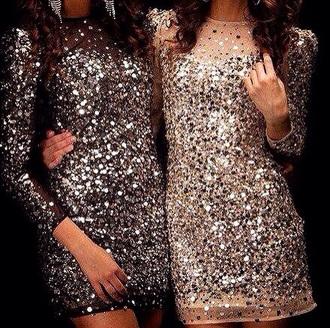 dress long sleeves party outfits mini dress glitter dress sequin dress black black dress gold dress long sleeves dress pink new year's eve