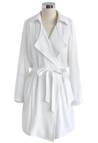 coat casual vibe belted cotton trench coat in white chicwish summer boho white coat