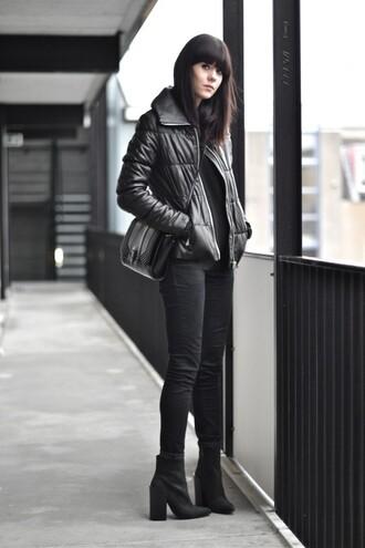 jacket black puffer jacket black jeans heel boots blogger